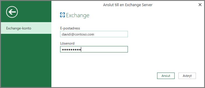 Autentiseringsuppgifter för Exchange