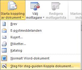 Välj Starta koppling av dokument och välj sedan Steg för steg-guiden Koppla dokument på fliken Utskick i Word.