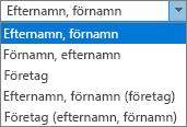 Outlook-alternativ för kontakter, med listalternativ för Spara som-ordning.