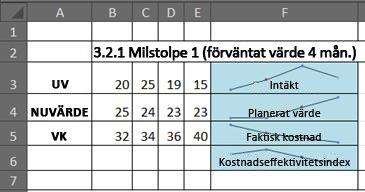 EVM i Excel med miniatyrdiagram