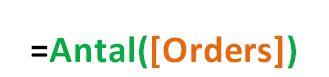 bild av syntaxen för funktionen antal =Antal([OrderID])