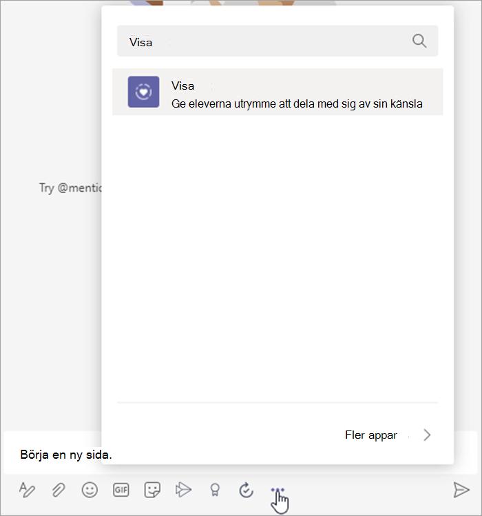 """skärmbild av markören som hovrar över ellipsen under meddelandetillägg-popup """"ny konversation"""" visas med """"Reflect"""" i sökfältet"""