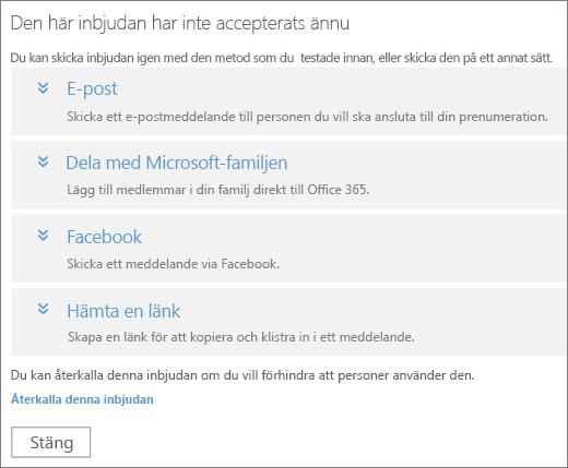 Skärmbild av dialogrutan för en väntande inbjudan med alternativ att skicka länken igen via e-post, Microsoft Family, Facebook eller en anpassad länk, och en länk för att återkalla inbjudan.