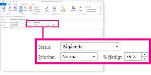 Egenskaperna Status, Prioritet, och % färdigt i meddelandet Statusuppdatering