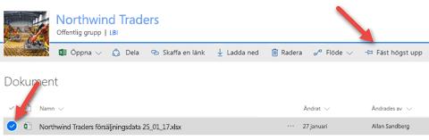 Markera filen och klicka på Fäst högst upp så att den enkelt går att nå i ditt dokumentbibliotek