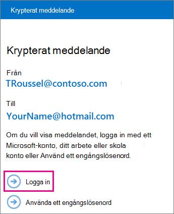 Välj Logga in för att använda din MSA