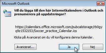 Dialogrutan för att lägga till alla Internetkalendrar till Outlook
