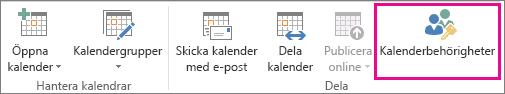 Knapp för kalenderbehörigheter på hemfliken i Outlook 2013