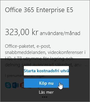 Knappen Köp nu för att lägga till en Enterprise E5-prenumeration.
