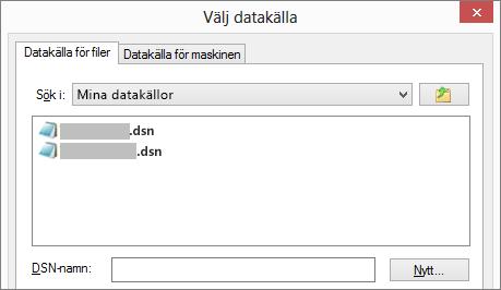 Dialogrutan Välj datakälla