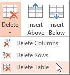 Ta bort en tabell