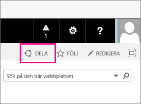 Klicka på ikonen Dela om du vill dela en underwebbplats med en kund