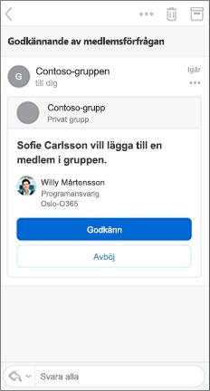 E-postmeddelande med knapparna Godkänn och acceptera