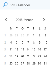 Sökrutan i Kalender