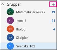 Den vänstra navigeringsfönstret i Outlook på webben med knappen Skapa markerad