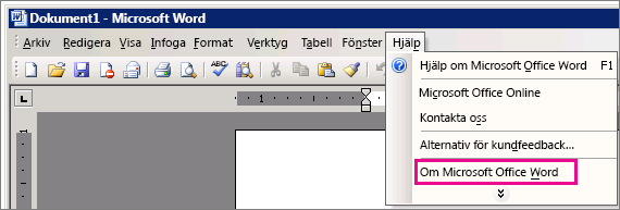 Hjälp > Om Microsoft Office Word i Word 2003