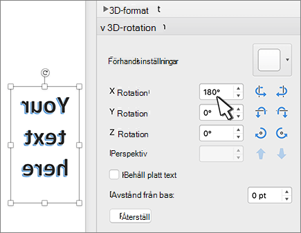 WordArt med en 180 grad rotation