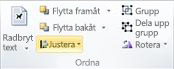 Gruppen Ordna för att justera objekt i Publisher 2010