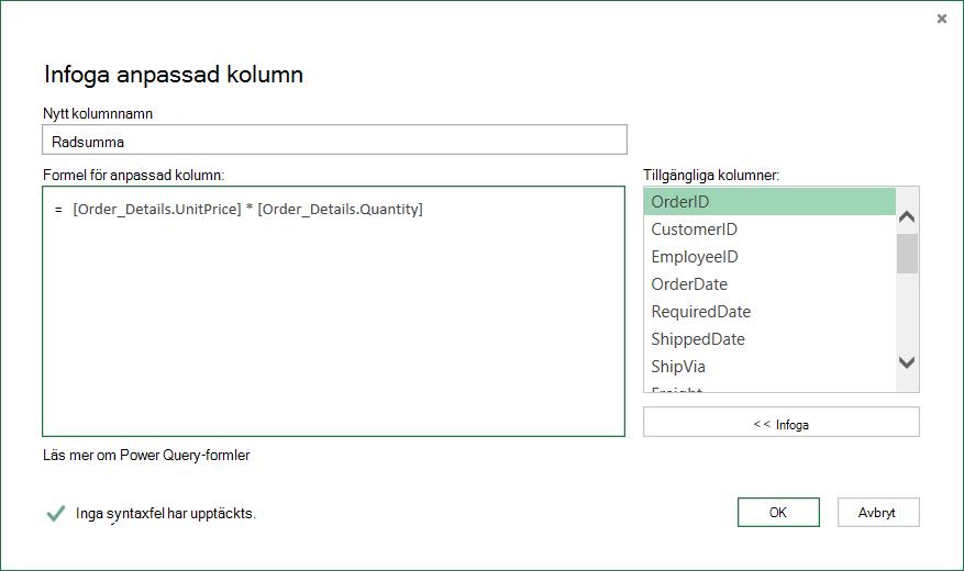 Beräkna radtotalen för varje Order_Details-rad