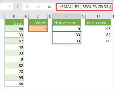Excel-matrisformel för att hitta det n:e minsta värdet: =MINSTA(B9#,SEKVENS(D9))