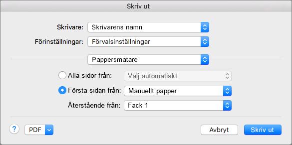 När du väljer Pappersmatning i dialogrutan Skriv ut kan du välja papperskälla.