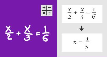 Handskriven ekvation och anvisningar för hur du löser ekvationen