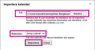 google calendar – dialogrutan importera kalender