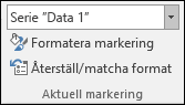 Välj ett alternativ för serier i Diagramalternativ > Format > Aktuell markering