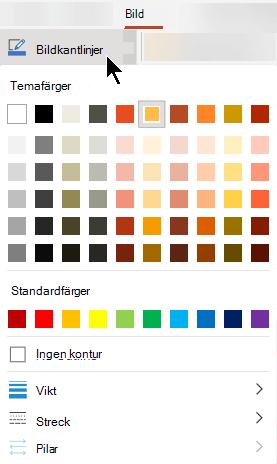 Menyn bild kant linjer innehåller alternativ för färg, tjocklek och linje format.