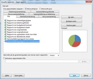 Lista över visuella Excel-rapportmallar i dialogrutan Visa rapporter