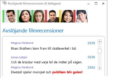 Skärmbild av chattrumsfönstret med ett nytt meddelande med röd fetstil och uttryckssymbol
