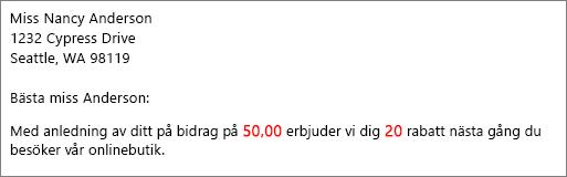 """Kopplat dokument lyder """"ditt bidrag på 50,00"""" och """"erbjuda dig en rabatt på 20""""."""