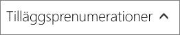 Avsnittet för tilläggsprenumerationer på sidan Köptjänster i administrationscentret för Office 365.