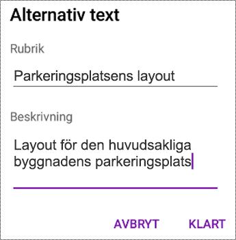 Lägga till alternativtext till bilder i OneNote för Android