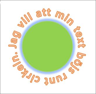 Text som rundar en cirkelformad figur