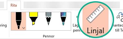 Linjalen finns på fliken Rita i menyfliksområdet i PowerPoint 2016.