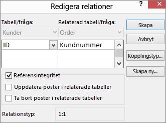 Dialogrutan Redigera relationer