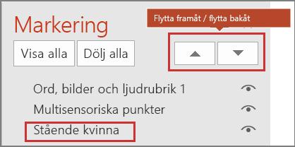 PowerPoints-användargränssnittet med objekt i markeringsfönstret och knapparna Flytta framåt/Flytta bakåt.