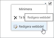 Redigeringsmenyn för webbdelen har markerats