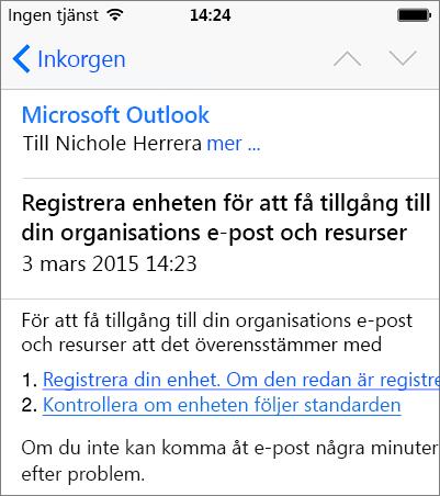 E-postmeddelande om registrering på iPhone