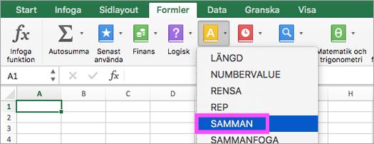 Funktionerna SAMMAN och TEXTJOIN är tillgängliga i Excel.