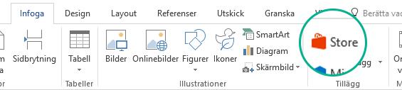 Installera Office-tillägg med Store-knappen på fliken Infoga i menyfliksområdet i Office