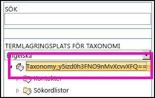 En skärmavbild av trädvyn i verktyg för hantering av termlagringsplats som visar namnet på taxonomin och underordnade mappar.