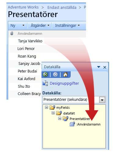 Relationen mellan den externa datakällan och datakällan i formulärmallen.