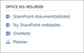 Skärmbild som visar Office 365-resurser