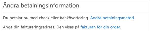 Fönstret Ändra betalningsinformation för en prenumeration som för närvarande betalas via faktura.
