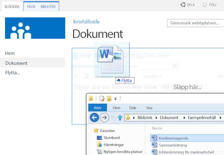 Dra filer till ett bibliotek