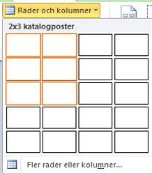 Katalogsidans layout, rader och kolumner