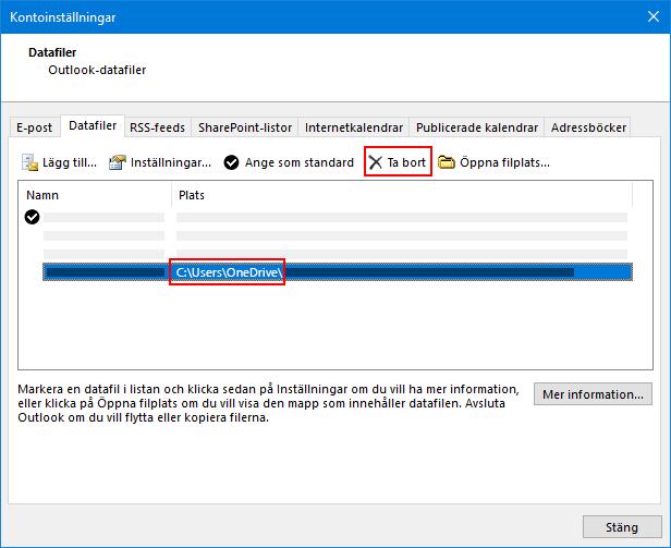 Dialog rutan Outlook-datafiler