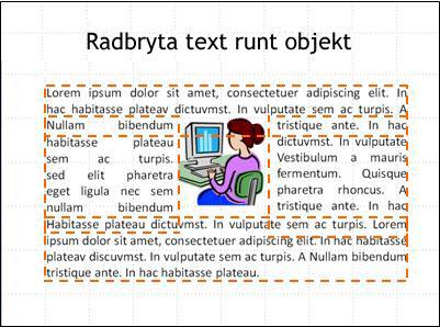 Bild med infogat objekt, textrutor och färdig text.